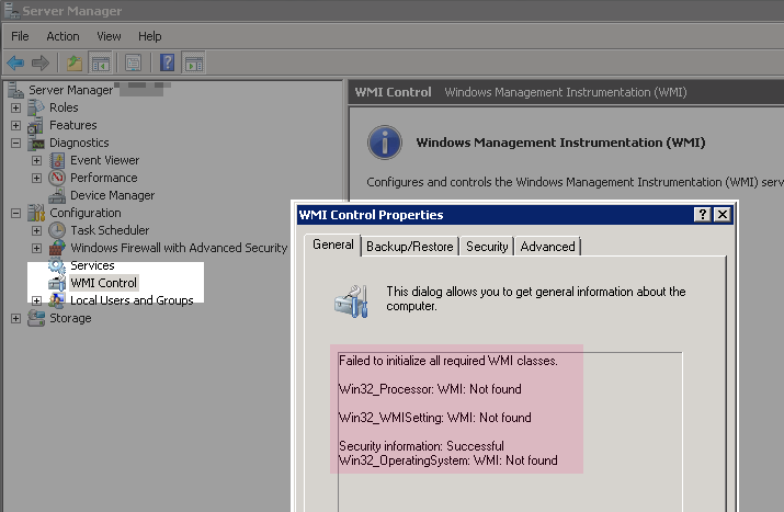 WMI Control General -Failed to initialize all required WMI classes